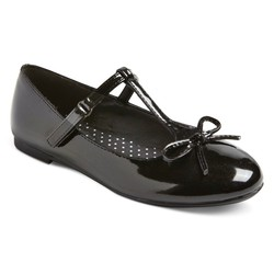 Cat & Jack Girls' Bettie Patent T-Strap Ballet Flats - Black - Size: 2