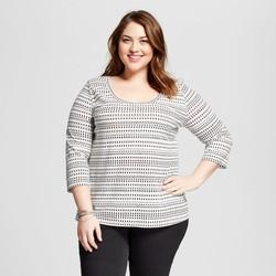 Ava & Viv Women's Plus Size Printed 3/4 Sleeve T - Ivory/Black - Size: 4X