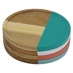 Threshold Acacia Wood Coasters - Set of 4 - True White Opaque