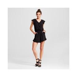 Xhilaration Women's Ruffle Surplice Short Sleeve Romper - Black - Size: XS