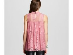 Xhilaration Women's Embroidered Mockneck Blouses Top - Mauve - Size: Small
