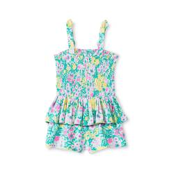Genuine Kids from Oshkosh Baby Girls' Floral Peplum Romper -Green - Sz:18M