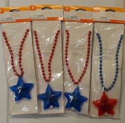 Unisex Beaded Star USA Patriotic Light Up Necklace - 4 Pack - Blue & Red