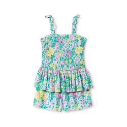 Genuine Kids Toddler Girls' Floral Peplum Romper - Green - Size: 2T