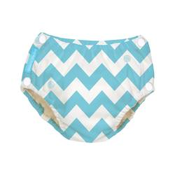 Charlie Banana Reusable Easy Snaps Swim Diaper - Blue Chevron - Medium