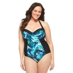 Ava & Viv Women's Plus One-Piece Swimsuit - Black/Blue - 20W