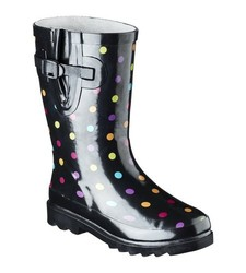 Washington Girls Multi-Color Polka-Dot Rain Boots - Black - Size: 5