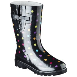 Western Chief Girl's Molly Dot Rain Boots - Black - Size: 4