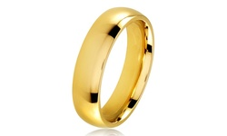 Jinique Men's Gold Plated Stainless Steel Comfort Fit Band Ring - 5mm