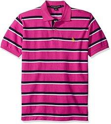 U.S. Polo Assn. Men's Striped Pique Polo - Scuba Pink - Size: Large