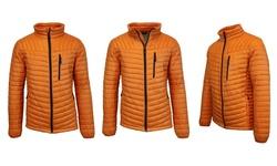 Spire by Galaxy Men's Lightweight Puffer Jacket - Black/Orange - Size: 2XL