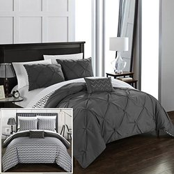 Chic Home CS2275-AN 4 Piece Jacky Pinch Pleated, Reversible Chevron Print Ruffled And Pleated Complete Comforter Set Shams And Decorative Pillows Included, King, Grey
