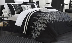 Chic Home 3 Piece Mateo Duvet Set - Black - Size: Queen