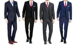 Braveman Men's 3 Piece Slim Fit Suit - London Blue - Size: 44R x 38W