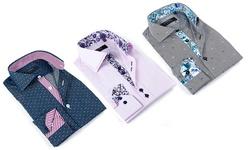 Men's Dress Shirt: Light Pink Solid W/stitching & Purple Paisley Trim/3xl