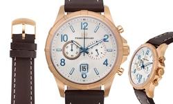 Pierre Bernard Men's Arcturian Analog Watch - Brn Band & Silver-White Dial