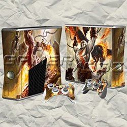 God of War XBOX 360 Slim Skin Set -Console with 2 Controllers