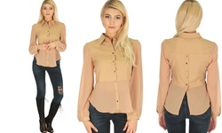 Casually Cute Women's Long Sleeve Back & Front Top - Taupe - Size: S