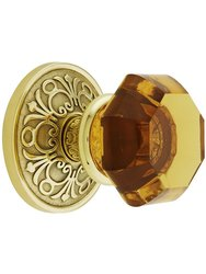 Emtek Lancaster Rosette Set With Amber Crystal Knob - Polished Brass