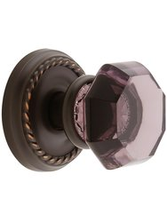 Emtek Rope Set with Amethyst Crystal Dummy Oil-Rubbed Doorset - Bronze
