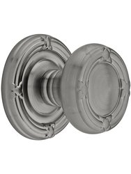 Emtek Ribbon And Reed Door Set with Brass Knobs Privacy - Antique Pewter