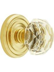 Emtek Classic Set with Diamond Crystal Door Knobs Dummy - Polished Brass