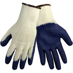 Global Glove String Knit Glove Case of 240 - White/Blue - Size: M