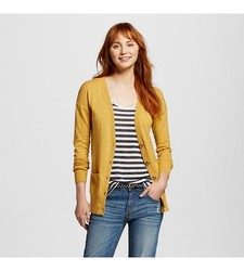 Mossimo Women's Long Sleeves Boyfriend Cardigan - Yelow - Size: Large
