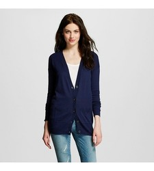 Mossimo Supply Women's Long Sleeves Boyfriend Cardigan - Navy - Size: S