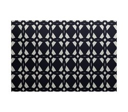 E By Design Geo-Craze Geometric Print Outdoor Rug - Navy - Size: 5' x 7'