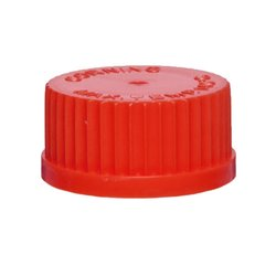 Corning Polybutylene Terephtalate 3-Hole Media Bottle Screw Caps - Red