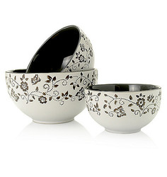 Cook's Companion 3 Piece Ceramic Mixing Bowl Set - Grey - Size: One