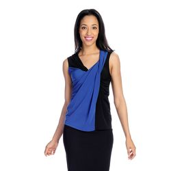 Vanessa Williams Stretch Drape Front Color Block Tank Top - Cobalt / Black