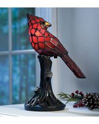 Plow & Hearth Tiffany Style Stained Glass Cardinal Accent Lamp