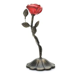 "Style at Home with Margie 12"" Love Flower Accent Lamp - Red"