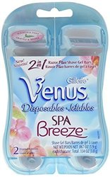 Gillette Venus Breeze Razors Disposable With Shave Gel Bars - 2-Count