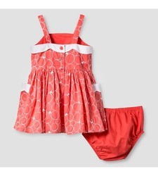 Oshkosh Girl's Scallop Neck Dress - Coral - Size: 18 Month