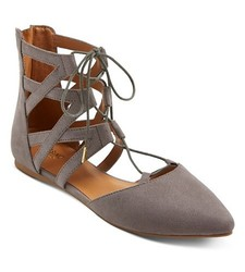 Mossimo Women's Nara Lace Up Ballet Flats - Grey - Size: 6