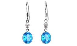 Orchid Jewelry 10.25 Carat Blue Topaz 925 Sterling silver Dangle Earring