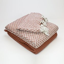 2-pack 100% Cotton Mosaic Throws - Ivory/brick