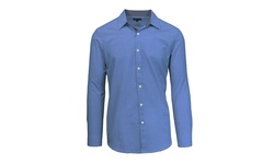 Galaxy By Harvic Men's Long Sleeve Gingham Plaid Shirt - Navy - Size: L