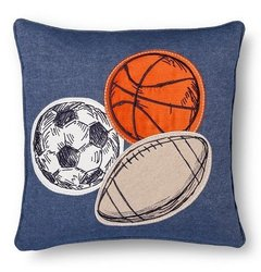 "Sheringham Road Braydon Applique Sports Balls Pillow - Blue - Sz: 18""x18"""