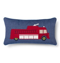 "Sheringham Road Nathan Fire Truck Decorative Pillow - Red - Size: 12""x24"""