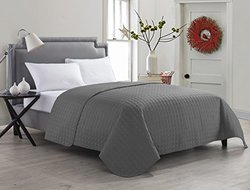 Anderson Solid Embossed Quilt: King-grey