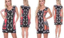Printed Sheath Dress: Red/l