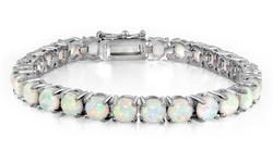 15ct White Opal Round Tennis Bracelet