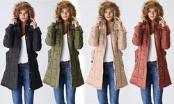 Lady Belted Women's Belted Puffer Jacket with Fur-Lined Hood - Khaki - L