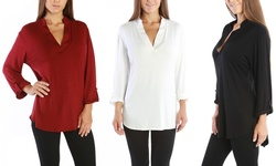 Women's Plus Size 3/4 Sleeve Top: Black - 2x