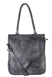 Genuine Leather Zipper Closure Large Tote: Grey