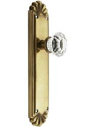 Emtek Trenton Door Set with Crystal Knobs Glass Door -Passage Antique Brss